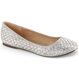 Argento TREAT-06 pietra cristallo scarpe ballerine donna basse
