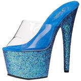 Blu 18 cm ADORE-701LG scintillare plateau ciabatta donna con tacco