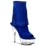 Blu Scamosciata 15 cm DELIGHT-1019 stivaletti con frange donna tacco alto