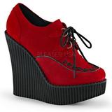 Rosso Ecopelle CREEPER-302 scarpe creepers zeppe altissime