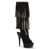 Beige Suede 15 cm DELIGHT-2059TT womens fringe boots with high heels