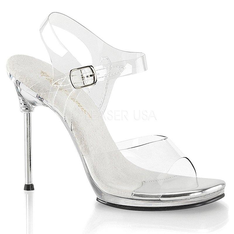Pleaser CHIC-08 sandali con tacchi altissimi acrilico taglie 38 - 39