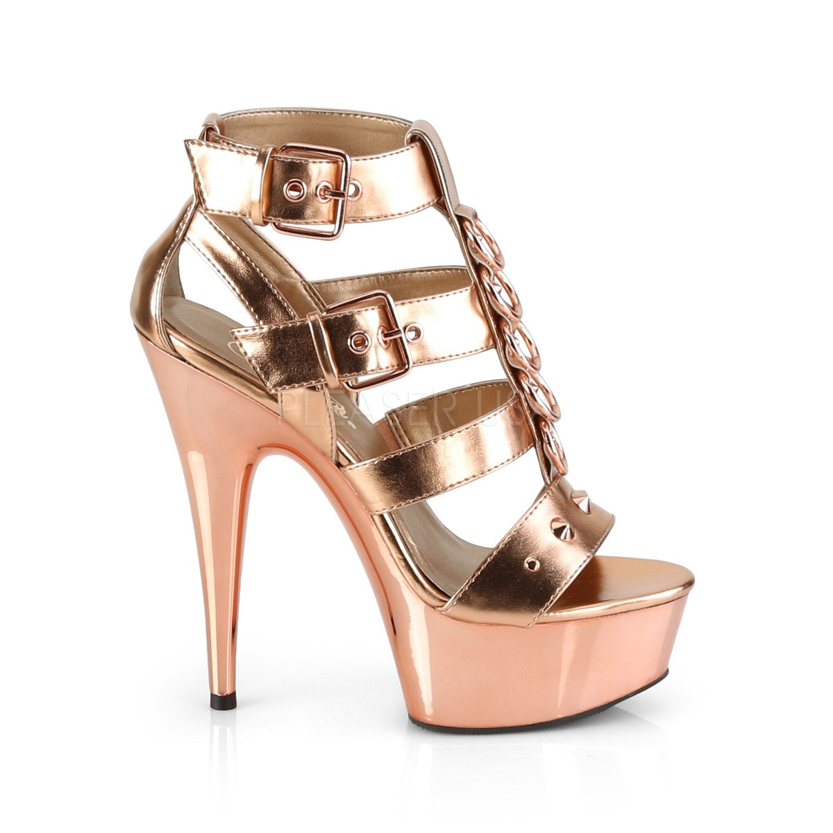 DELIGHT-658 scarpe pleaser con plateau e tacco alto dorato