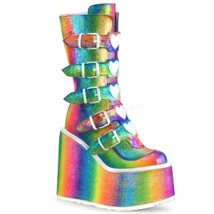 Arcobaleno Glitter 14 cm SWING-230 stivali cyberpunk con plateau