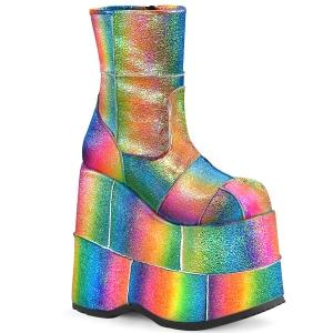 Arcobaleno Glitter 18 cm STACK-201 Stivaletti Plateau da Uomo