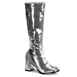 Argento Lustrini 8 cm SPECTACUL-300SQ Stivali Donna da Uomo