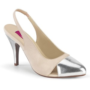 Beige 10 cm DREAM-405 slingback pumps transvestite shoes
