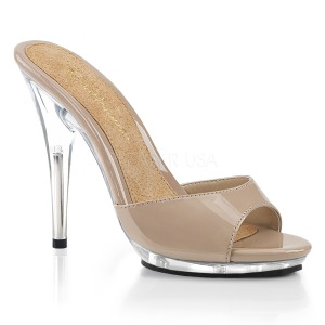 Beige 13 cm Fabulicious POISE-501 womens mules shoes
