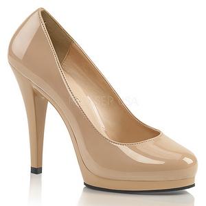 Beige Shiny 11,5 cm FLAIR-480 Women pumps for men
