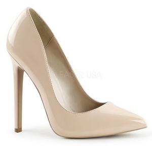 Beige Vernice 13 cm SEXY-20 scarpe tacchi a spillo con punta