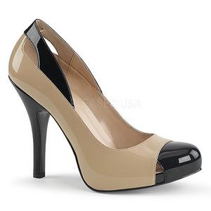Beige Verniciata 12,5 cm EVE-07 grandi taglie scarpe décolleté