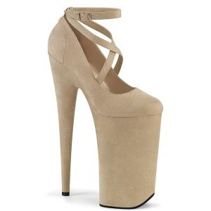 Beige vegano suede 25,5 cm BEYOND-087FS tacchi estremi - scarpe décolleté più plateau alto