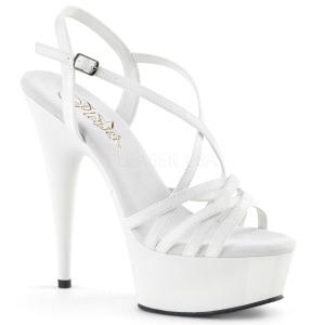 Bianco 15 cm Pleaser DELIGHT-613 Sandali Donna con Tacco