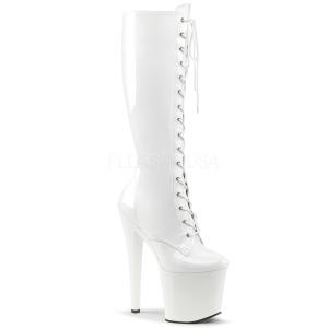 Bianco Ecopelle 19 cm TABOO-2023 stivali donna con lacci e plateau alto