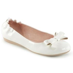Bianco OLIVE-03 ballerine scarpe basse donna con farfallino