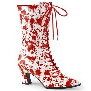 Bianco Rosso 7 cm VICTORIAN-120BL Stivaletti Stringati Donna