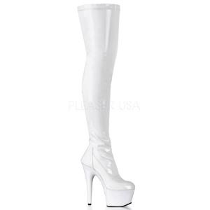 Bianco Vernice 18 cm ADORE-3000 Stivali alti e sopra al ginocchio