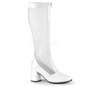 Bianco Vernice 8,5 cm GOGO-307 Stivali Donna da Uomo