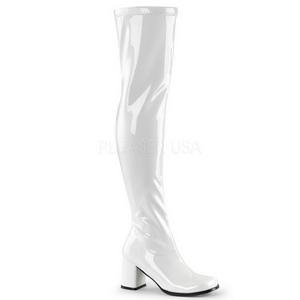 Bianco Vernice 8 cm GOGO-3000 stivali alti numeri grandi da uomo