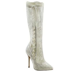 Bianco tessuto del merletto 13 cm AMUSE-2012 Stivali Altissimi Donna