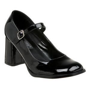 Black Shiny 8 cm GOGO-50 High Heel Pumps for Men