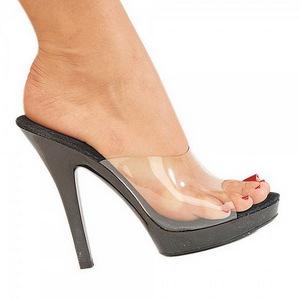 Black Transparent 13 cm Fabulicious LIP-101 Mules High Heels Platform