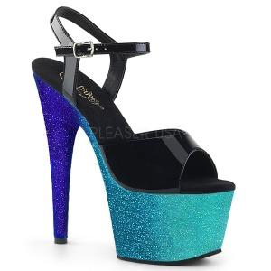 Blu 18 cm ADORE-709OMBRE scintillare plateau sandali donna con tacco