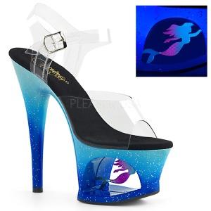 Blu 18 cm MOON-708MER Neon plateau sandali donna con tacco