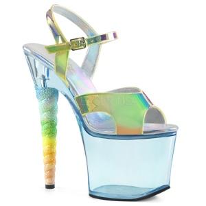 Blu 18 cm UNICORN-711T Acrilico plateau sandali donna con tacco