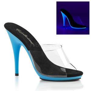 Blue Neon 13 cm POISE-501UV Platform Mules Shoes