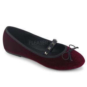 Borgogna Velluto DEMONIA DRAC-07 ballerine scarpe basse donna