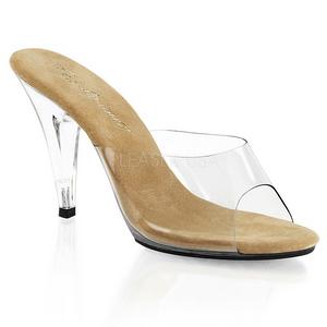 Brown Transparent 11 cm CARESS-401 Plateau Women Mules Shoes