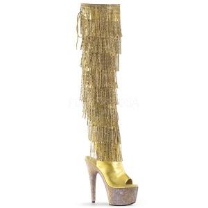 Dorato Ecopelle 18 cm BEJRSF-7 stivali con frange donna tacco altissime