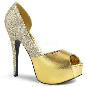 Dorato Glitter 14,5 cm Burlesque TEEZE-41W scarpe décolleté per piedi larghi da uomo