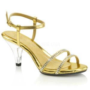 Dorato pietre strass 8 cm BELLE-316 scarpe per trans