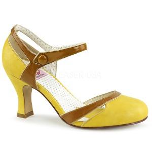 Giallo 7,5 cm retro vintage FLAPPER-27 Pinup scarpe décolleté con tacchi bassi