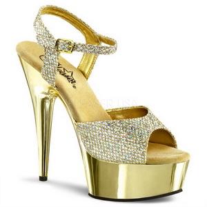 Gold 15 cm Pleaser DELIGHT-609G Chrome Platform High Heel