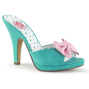 Green 10 cm SIREN-03 Pinup Mules Shoes with Bow Tie