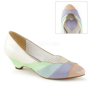 Multicolore 4 cm retro vintage LULU-05 Pinup scarpe décolleté con tacchi bassi