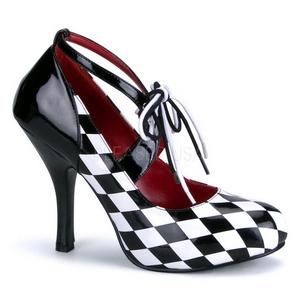 Nero Bianco 10,5 cm HARLEQUIN-03 Scarpe da donna con tacco altissime