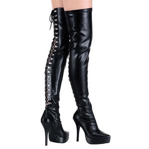Nero Matto 13,5 cm INDULGE-3063 stivali alti numeri grandi da uomo