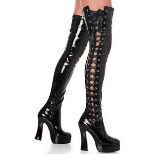 Nero Vernice 13 cm ELECTRA-3050 Stivali alti e sopra al ginocchio