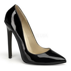 Nero Vernice 13 cm SEXY-20 scarpe tacchi a spillo con punta