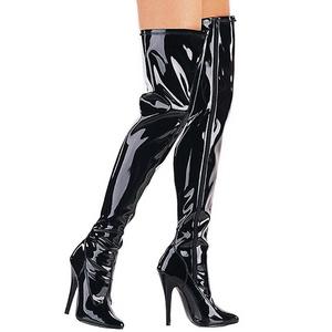 Nero Vernice 15 cm DOMINA-3000 Stivali alti e sopra al ginocchio