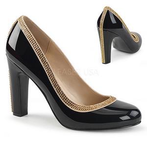 Nero Verniciata 10 cm QUEEN-04 grandi taglie scarpe décolleté