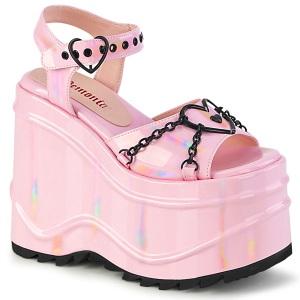 Ologramma 15 cm Demonia WAVE-09 scarpe lolita sandali con zeppa plateau
