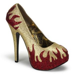 Oro Pietre Scintillanti 14,5 cm Burlesque TEEZE-27 Scarpe donna tacco altissime
