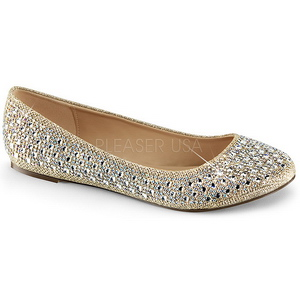 Oro TREAT-06 pietra cristallo scarpe ballerine donna basse