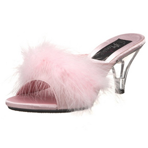 Pink 8 cm BELLE-301F piume di marabu Mules Scarpe