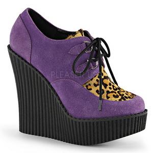 Porpora Ecopelle CREEPER-304 scarpe creepers zeppe altissime